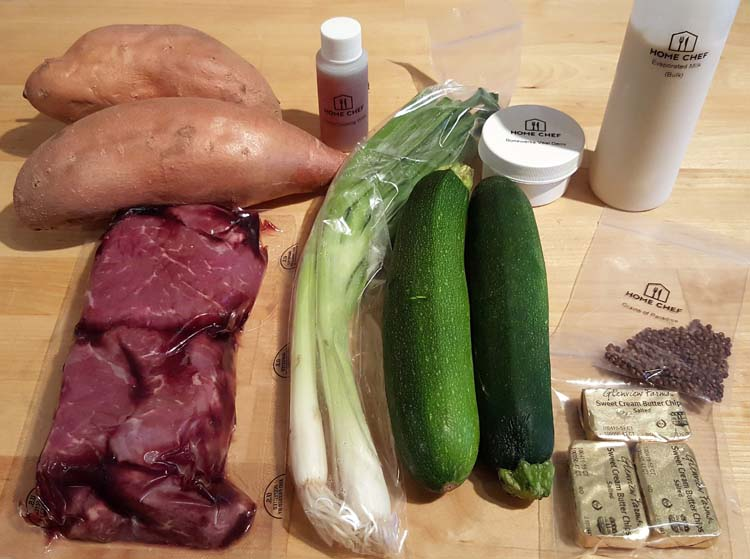 Ingredients for Home Chef steak with grains of paradise, zucchini and mashed sweet potatoes