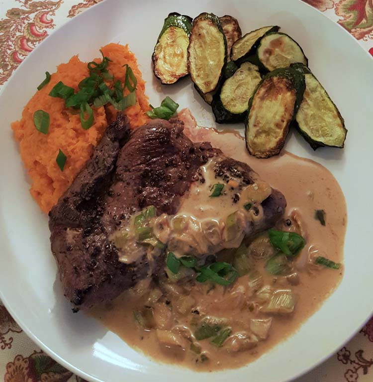 Home Chef steak with grains of paradise, zucchini and mashed sweet potatoes
