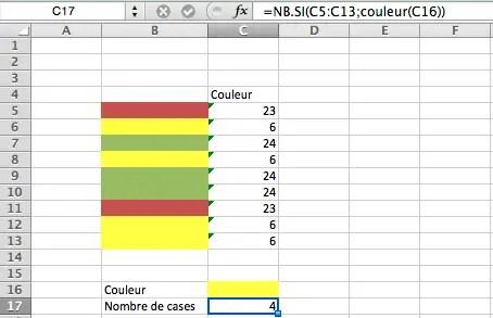 comment compter les cellules de la même couleur sur Excel?
