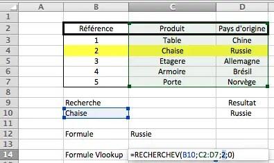 Recherche d'une valeur dans une plage de données avec la fonction Excel RechercheV