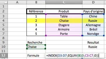 Utilisation des fonctions INDEX et EQUIV pour rechercher des données dans un tableau