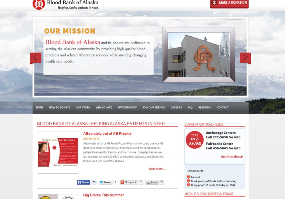 Blood Bank of Alaska website image