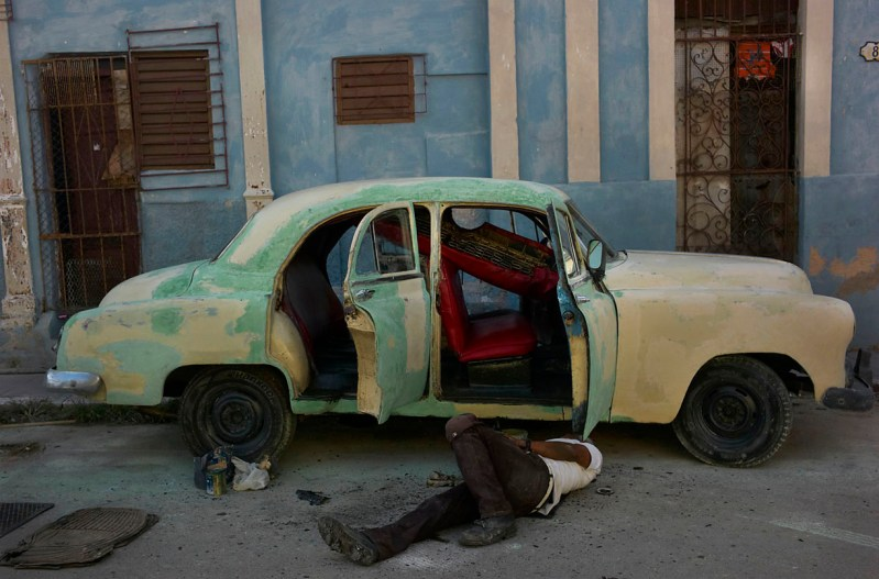 Because of the embargo, cars are not imported in Cuba. The majority of the cars are from the fifties. Cars are repaint and repair constantly. They are the charm of Havana. November, 2013.