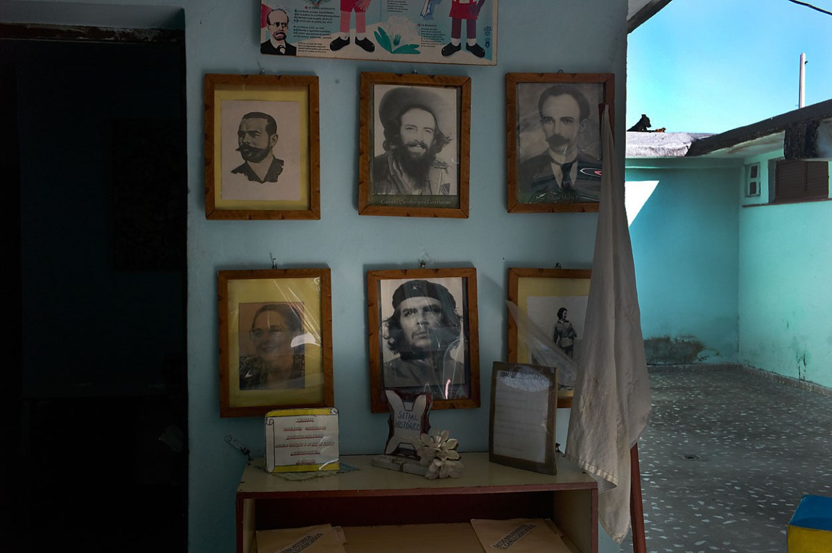 "Entrance hall in a day care center in Habana Vieja. National heroes are on display, amongst them ""el Che Guebara"" and Camilo Cienfuegos. El ""Che"" is loved by all. November, 2013."