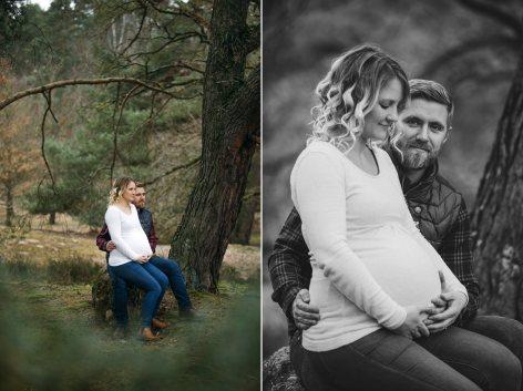 Babybauchfotos von einem Paar im Wald.