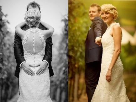 Hochzeitsfotograf mit wundervollem Brautpaar in den Weinbergen.