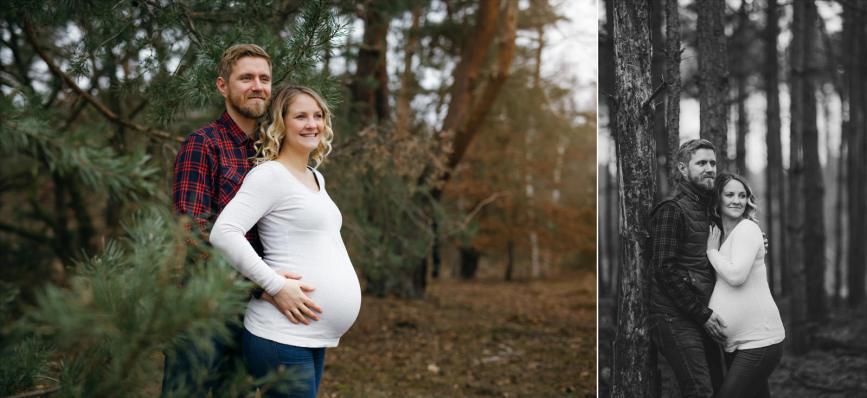 Babybauchfotos als Collage in einem Wald vor Bäumen.