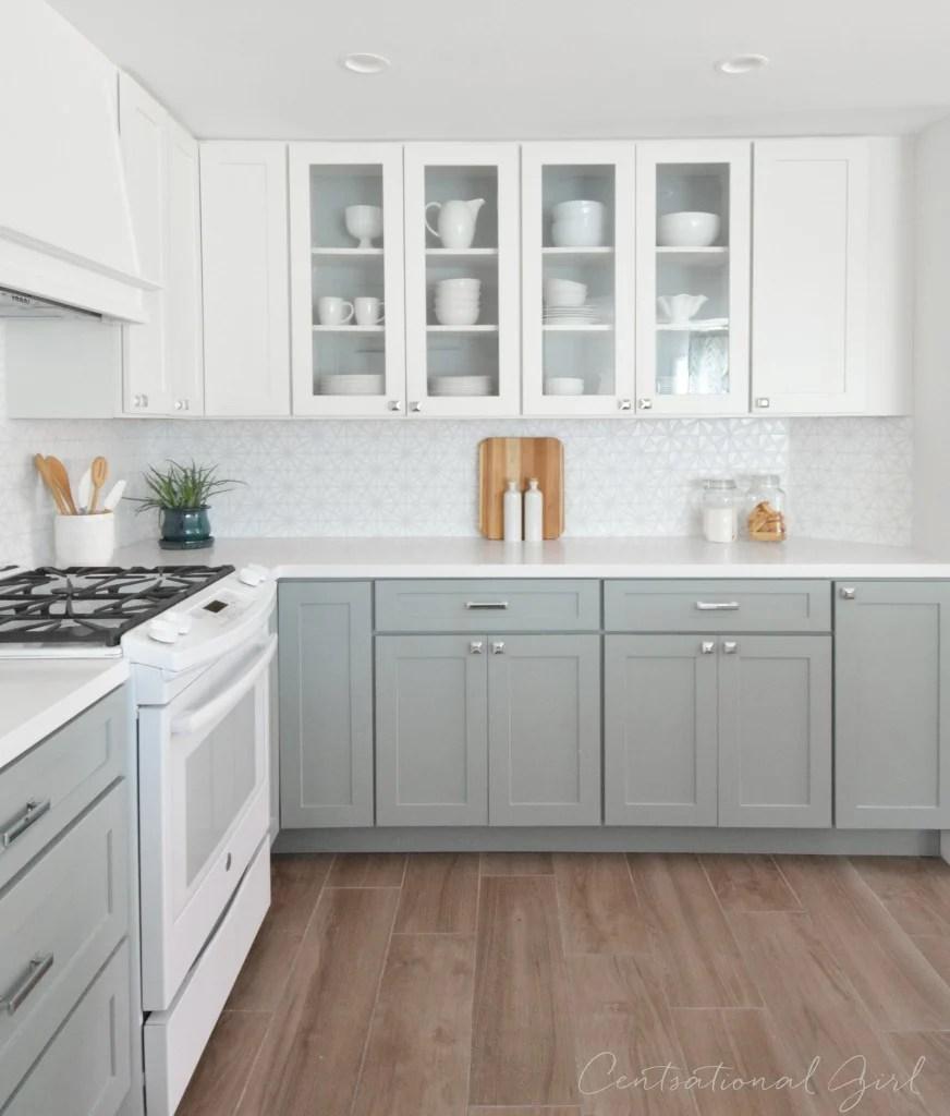 grey lower white upper kitchen cabinets upper kitchen cabinets New