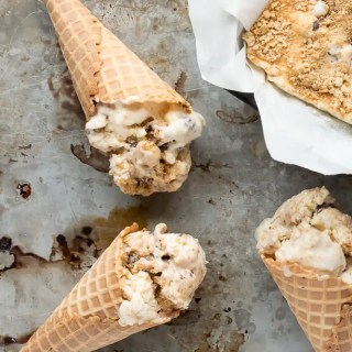 This easy recipes for No churn S'mores Ice Cream starts with a toasted marshmallow ice cream base, and mixes in crushed graham crackers and a rich chocolate sauce. Your favorite campfire treat in ice cream form!