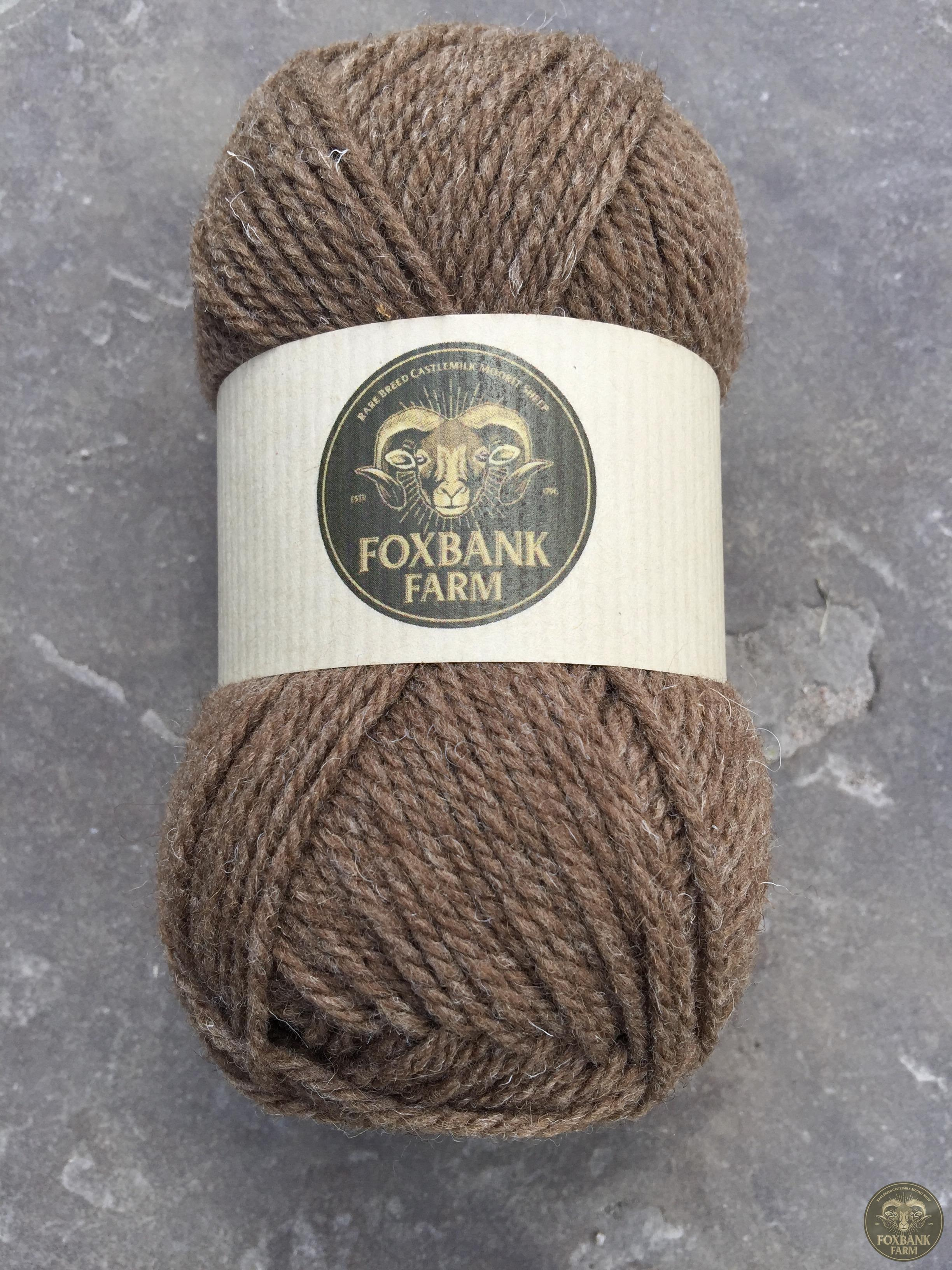 Castlemilk Moorit Woolen Spun Wool. Natural Colour.