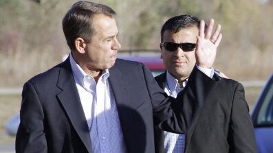 Nov. 2: U.S. Rep. John Boehner, R-Ohio, waves as he arrives at his voting location in West Chester, Ohio.