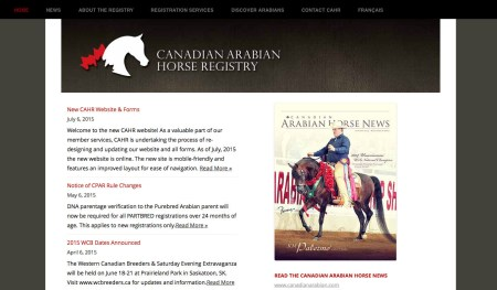 New website design for the Canadian Arabian Horse Registry.