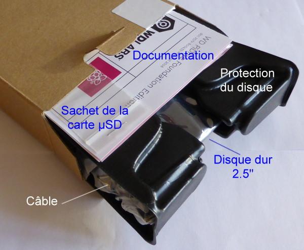 Boîte ouverte, le contenu est partiellement sorti de l'emballage