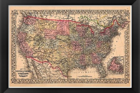 framed map of the united states, 1867 artwork by unknown