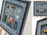 Military-collage-memorabilia-badges-medals-shadowbox-suade-matts-framemakers