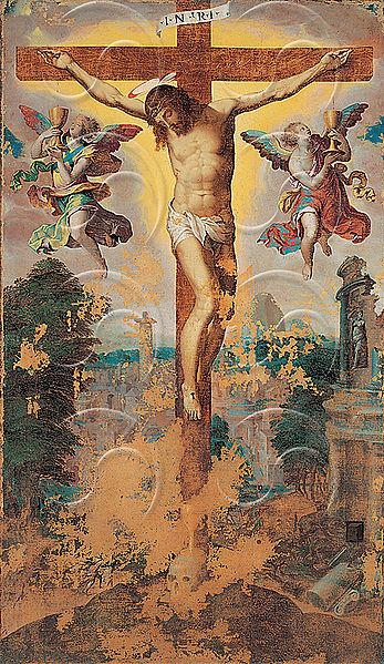 Agresti Livio - Crocifissione con due angeli