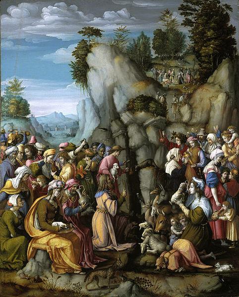 Mosè fa scaturire l'acqua nel deserto colpendo una roccia