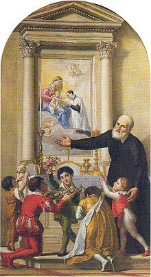 San Filippo Neri invita i fanciulli a venerare la Madonna