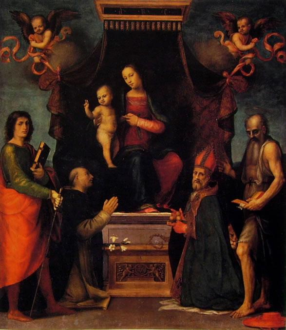 Mariotto Albertinelli: Madonna in trono col Bambino tra i santi Giuliano, Domenico, Nicola e Girolamo