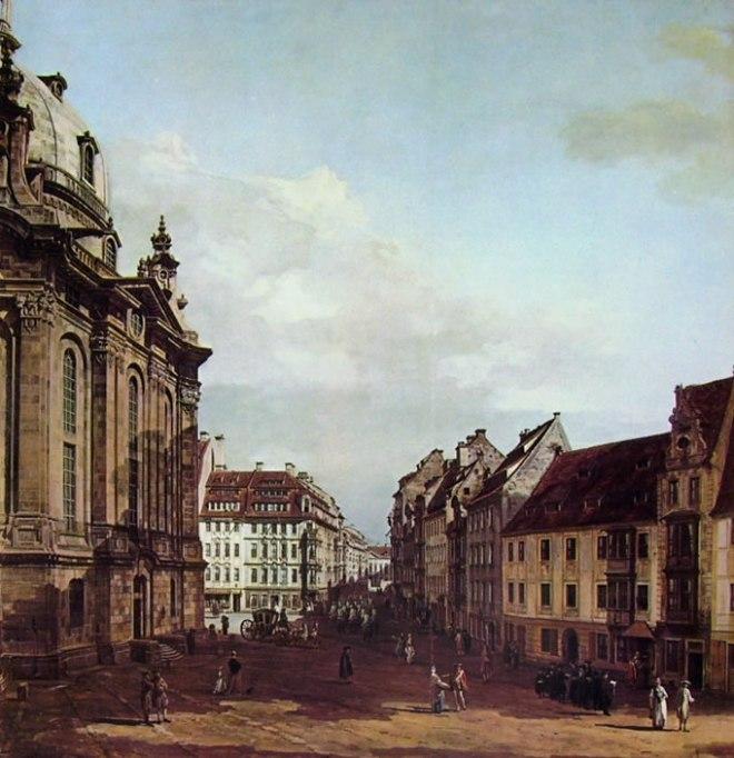 Bellotto: Dresda - La Franuenkirche, dall'antico corpo di guardia verso il palazzo Curlandese