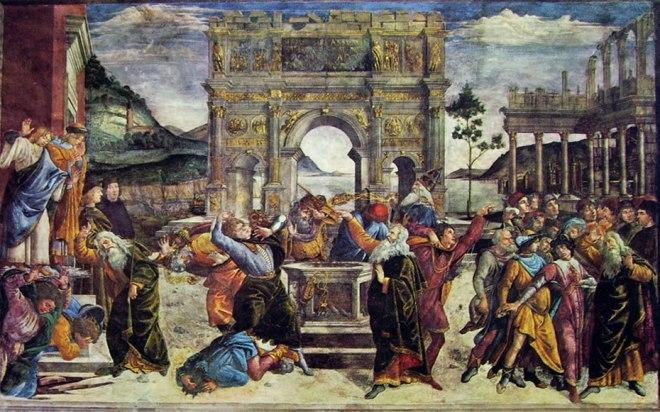 """""""Punizione dei ribelli"""" del Botticelli nella Cappella Sistina"""
