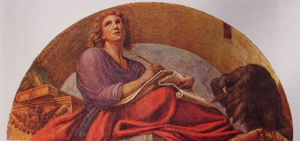 Particolare della cupola: Lunetta con San Giovanni Evangelista da giovane