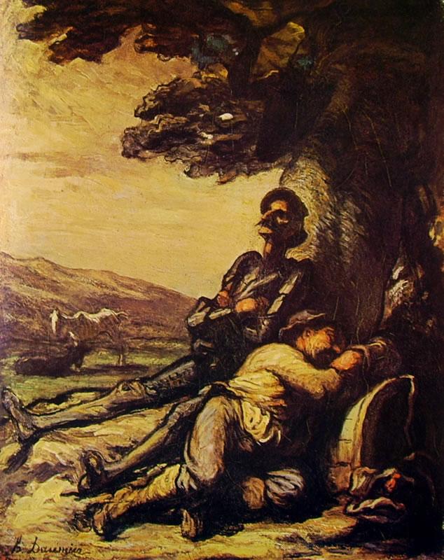 Honoré Daumier: Don Chisciotte e Sancio Pancia sotto un albero