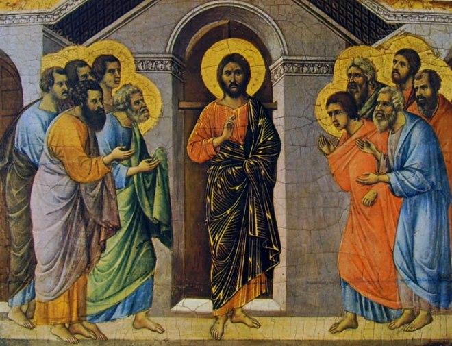 Duccio di Buoninsegna: Maestà - coronamento (verso) - L'Apparizione di Cristo agli apostoli a porte chiuse