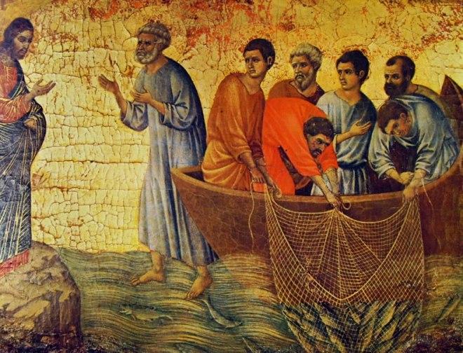 Duccio di Buoninsegna: Maestà - L'Apparizione di Cristo sul lago Tiberiade