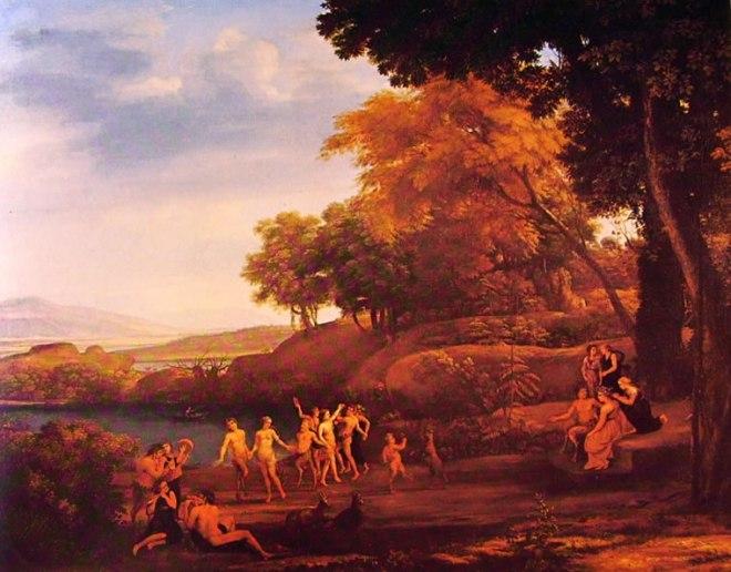 Lorrain (Claude Gellée): Paesaggio con satiri e ninfe danzanti