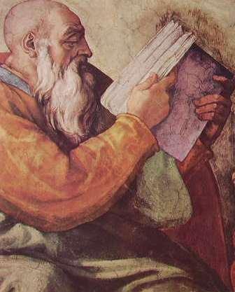 Michelangelo - Volta della Cappella Sistina, particolare del profeta Zaccaria