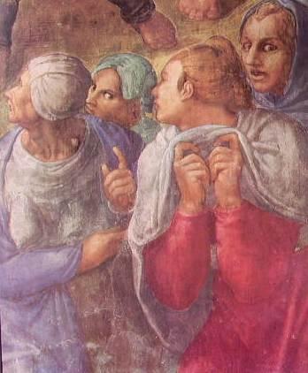 Michelangelo - La crocifissione S. Pietro, particolare dei dolenti, Cappella Paolina
