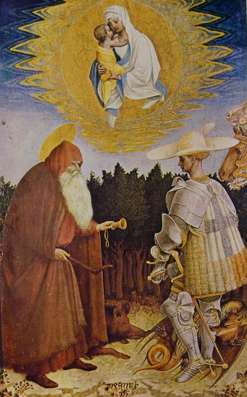 Pisanello: Apparizione della Madonna ai santi Antonio Abate e Giorgio