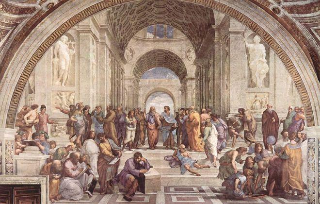 La scuola di Atene, della stanza della Segnatura, Vaticano