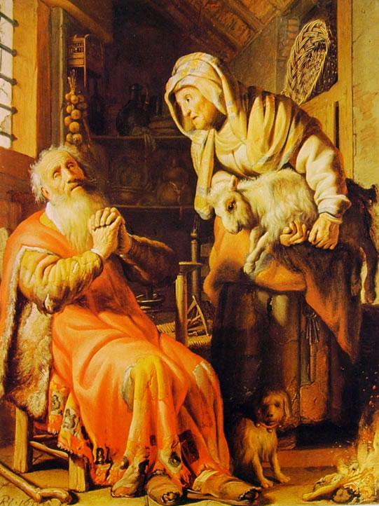 Rembrandt Harmenszoon Van Rijn: Tobia, Anna e il capretto