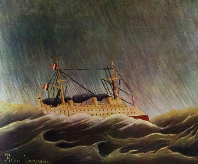 Rousseau il Doganiere: Uragano in mare