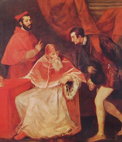 Paolo III Farnese e i nipoti Alessandro e Ottavio Farnese, cm. 174, Gallerie Nazionali di Capodimonte
