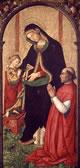 Madonna col Bambino scrivente e un vescovo inginocchiato