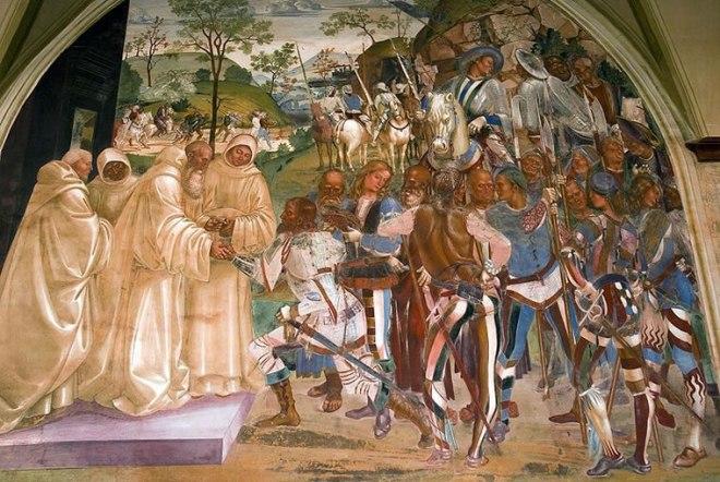 San Benedetto incontra re Totila e gli dà il benvenuto