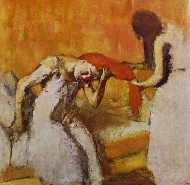 Edgar Degas: Donna seduta sul letto che si fa pettinare
