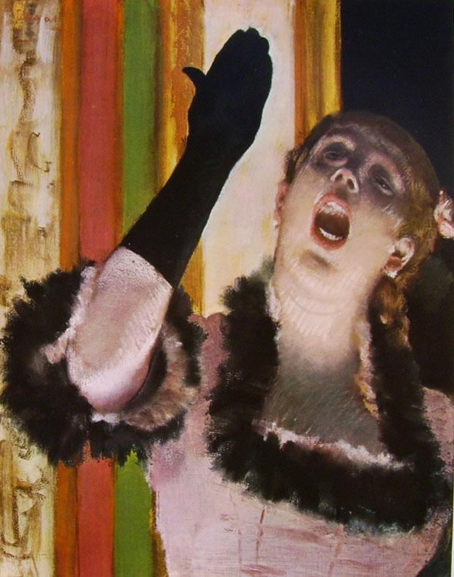 Cantante con guanto, 1878 pastello su cartone grigio