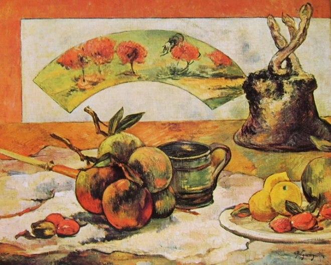Natura morta con ventaglio di paul gauguin for Quadri facili da dipingere