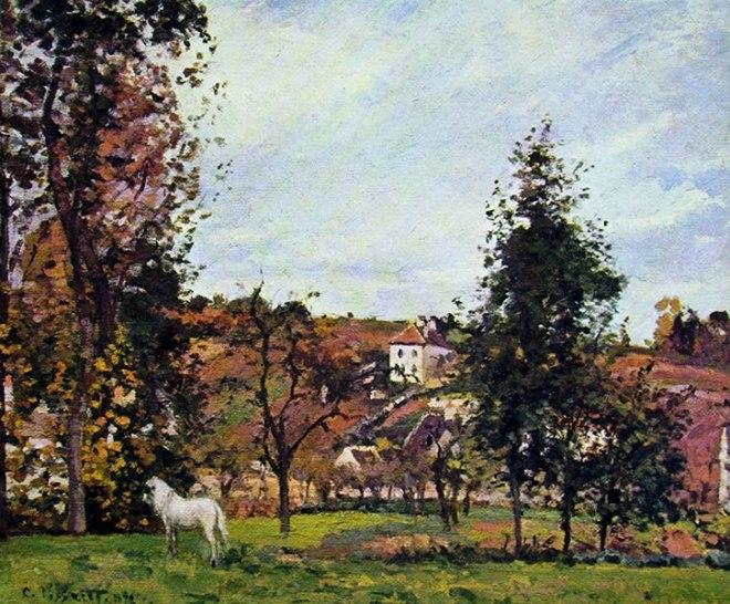 Camille Pissarro: Paesaggio con cavallo bianco in un prato, l'Ermitage,