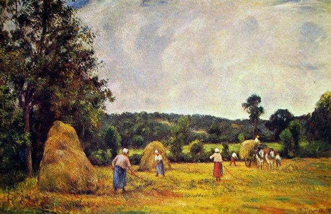 Camille Pissarro: Raccolta del fieno a Montfoucault