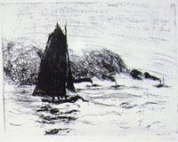 Battello a vela e tre piccole navi a vapore