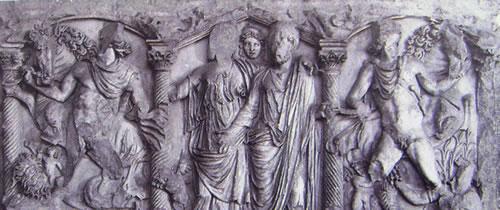 """Sarcofago """"a colonne"""" coppia di coniugi con alle estremità i Dioscuri che domano i cavalli"""