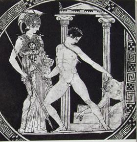 Coppa di Esone (particolare) con Teseo che vittorioso sul Minotauro (Madrid)