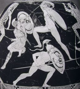 Lekythos ariballica di Esone (particolare) con combattimento di guerrieri greci con amazzoni