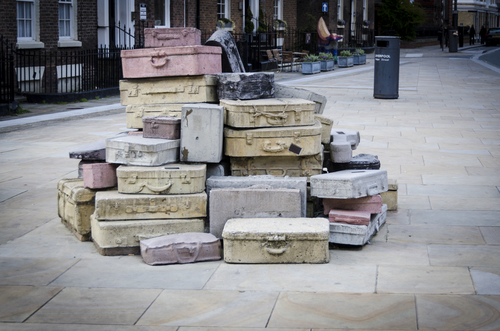 LIVERPOOL UK, MAY 6 2012: A Sculpture of suitcases which  belonged to many of Hope Street Quarter's most illustrious names and organisations