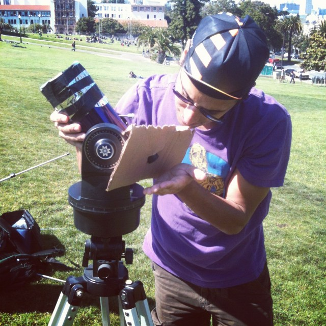 Setting up my telescope at Dolores Park on June 6 2012 (see http://cosmicdiary.org/fmarchis/2012/06/11/june-2012-transit-of-venus-from-san-francisco-to-mars/)